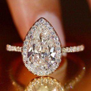 NEW 925 Sterling Silver Teardrop Halo Diamond Ring